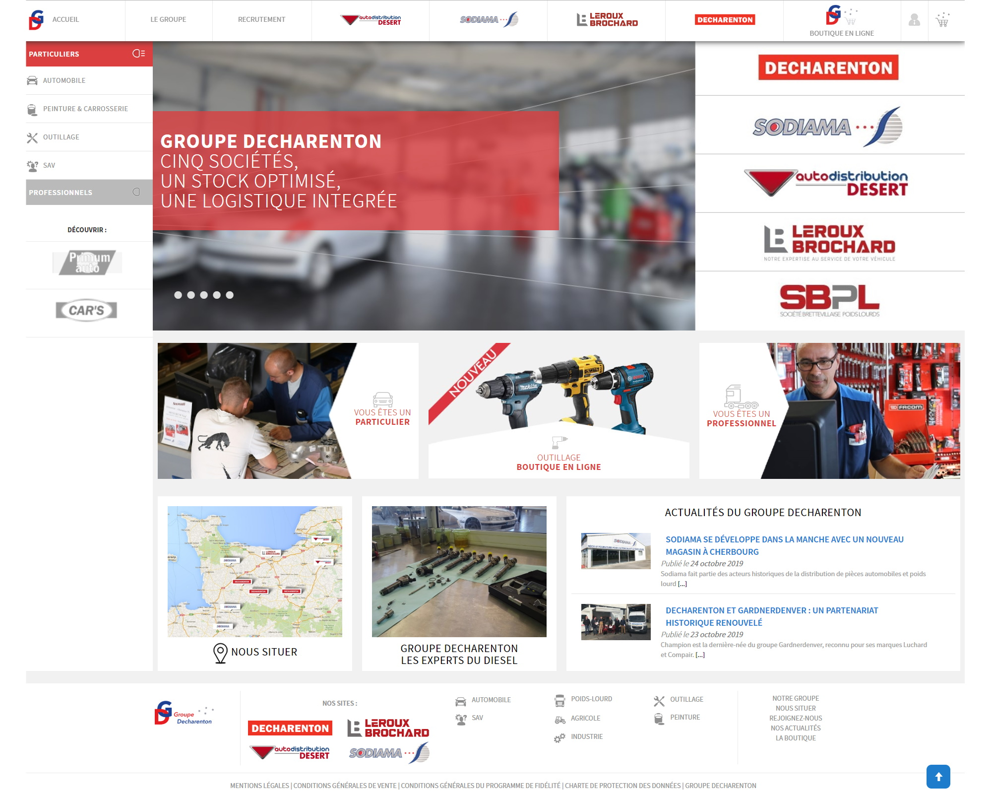 Site e-commerce du groupe Decharenton